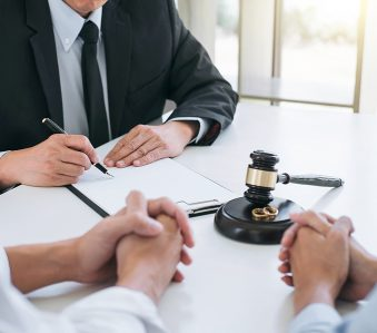 Couple consulting a family lawyer in Liverpool